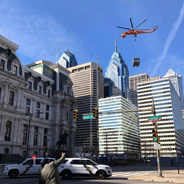 helicopter lift in Center City, Philadelphia