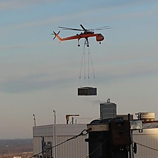 helicopter lift of a cooling tower replacement