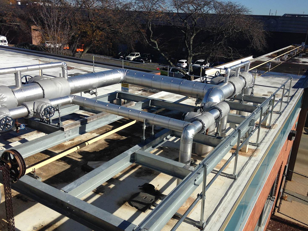 Merck & Co. in West Point, PA, contracted Herman Goldner Co., Inc., to install new steam mains and isolation valves at seven locations on the campus